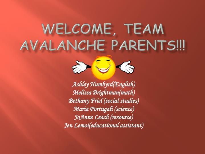 welcome team avalanche parents n.