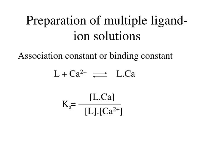 Preparation of multiple ligand ion solutions