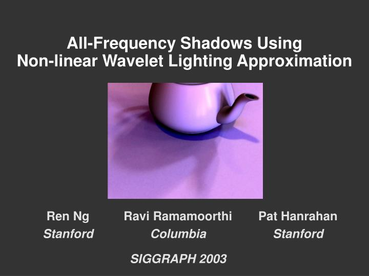 all frequency shadows using non linear wavelet lighting approximation n.