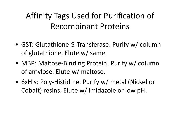 Affinity Tags Used for Purification of Recombinant Proteins