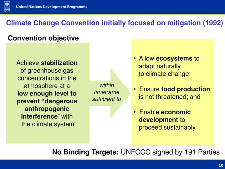 Climate Change Convention initially focused on mitigation (1992)