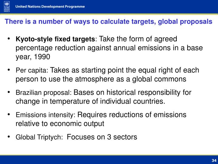 There is a number of ways to calculate targets, global proposals