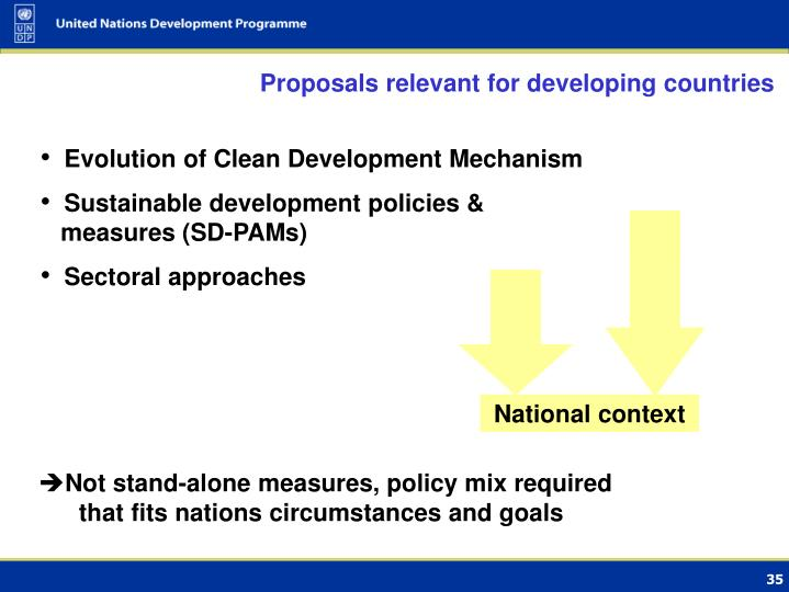 Proposals relevant for developing countries