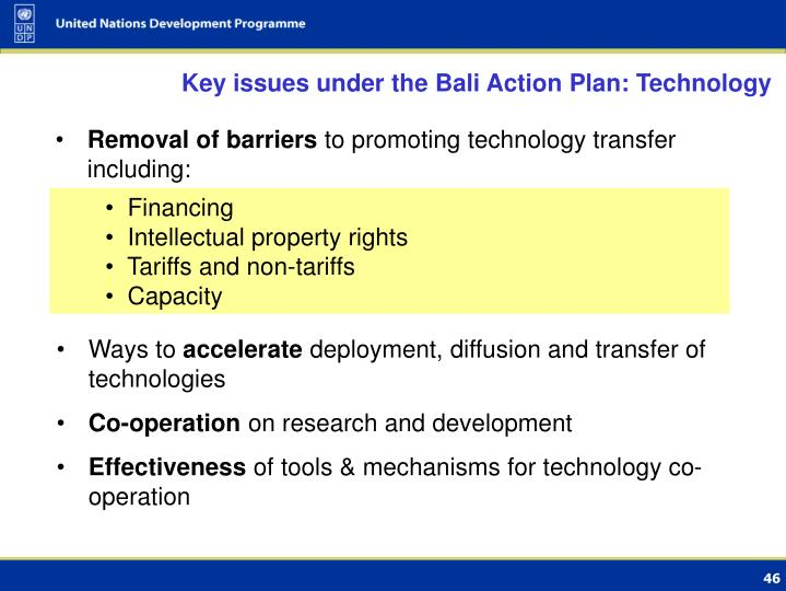 Key issues under the Bali Action Plan: Technology