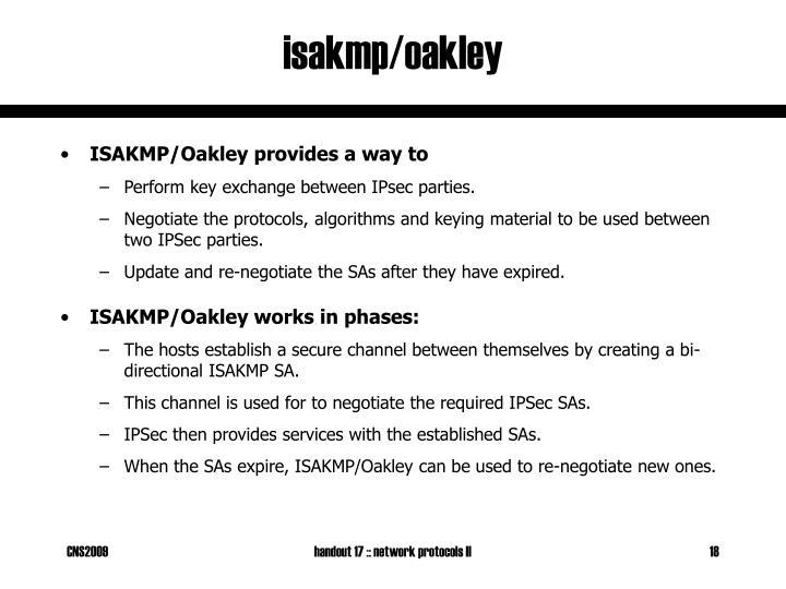 isakmp/oakley