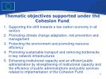 thematic objectives supported under the cohesion fund