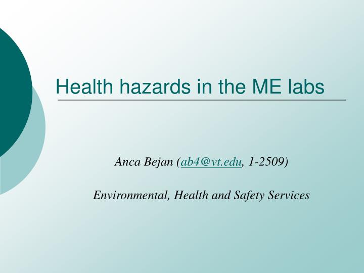 health hazards in the me labs n.