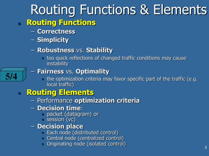 Routing functions elements