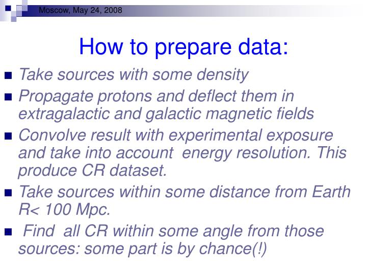 How to prepare data: