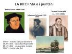 la riforma e i puritani