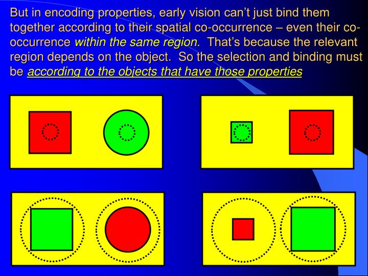 But in encoding properties, early vision can't just bind them together according to their spatial co-occurrence – even their co-occurrence
