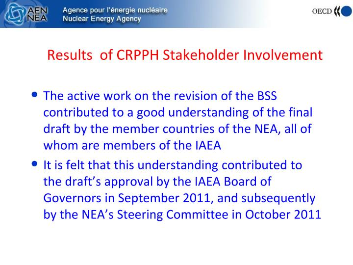 Results  of CRPPH Stakeholder Involvement