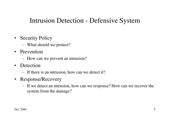 Intrusion Detection - Defensive System