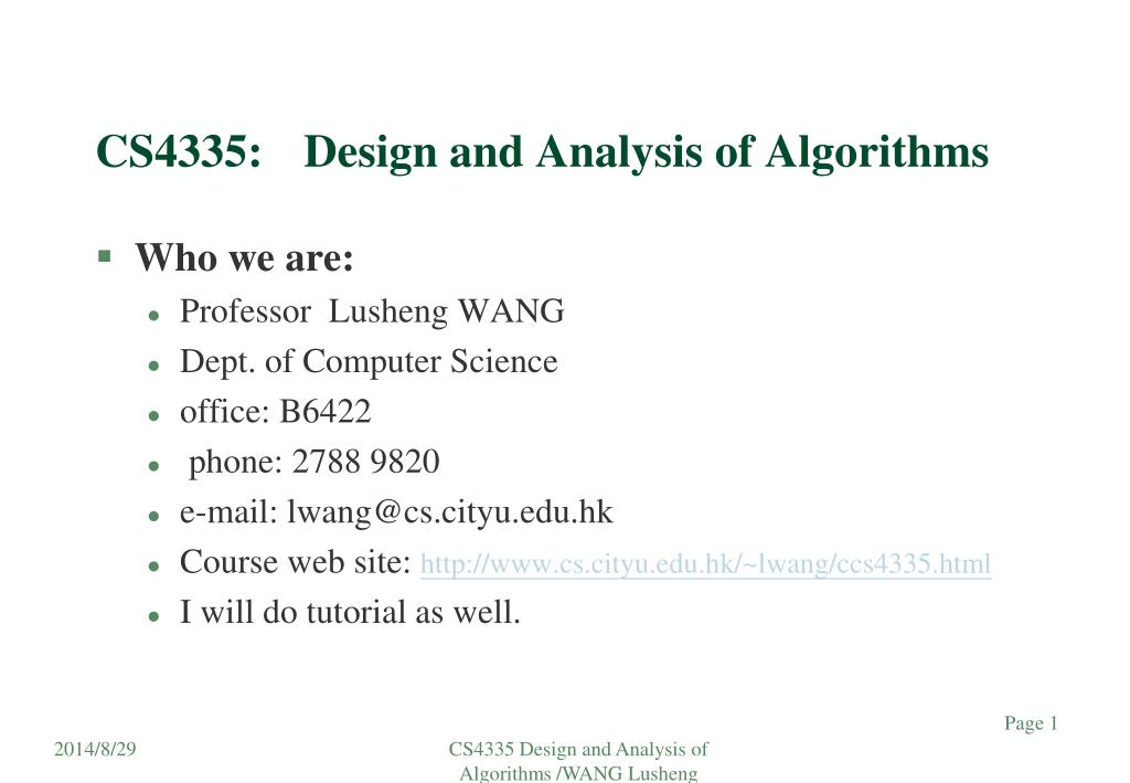 PPT CS4335 Design And Analysis Of Algorithms PowerPoint