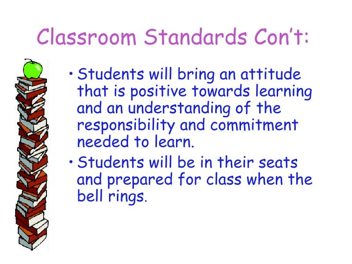 Classroom Standards Con't: