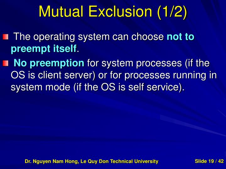 Mutual Exclusion (1/2)