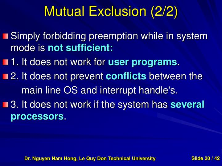 Mutual Exclusion (2/2)