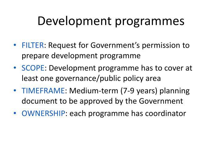 Development programmes