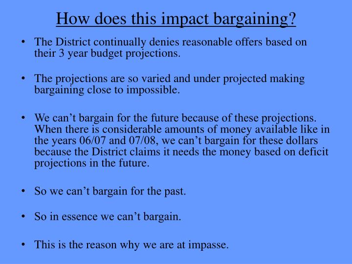 How does this impact bargaining?