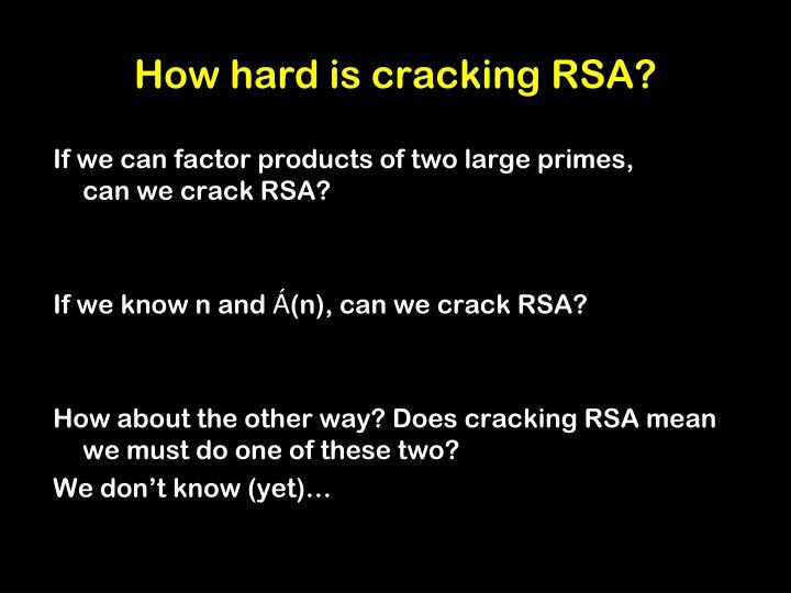 How hard is cracking RSA?