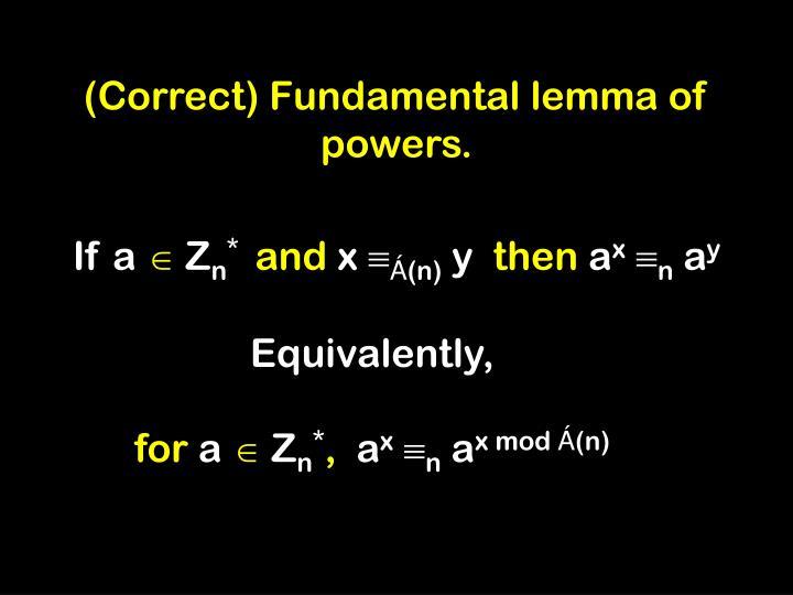 (Correct) Fundamental lemma of powers.
