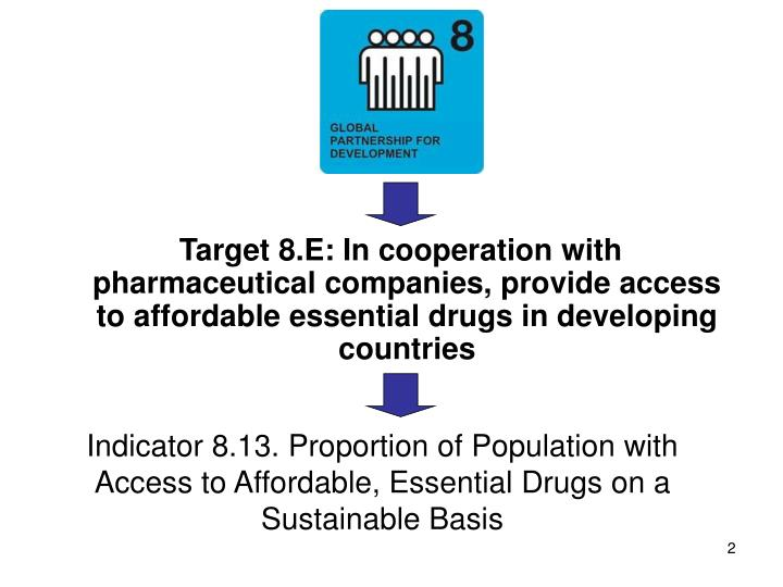 Target 8.E: In cooperation with pharmaceutical companies, provide access to affordable essential d...