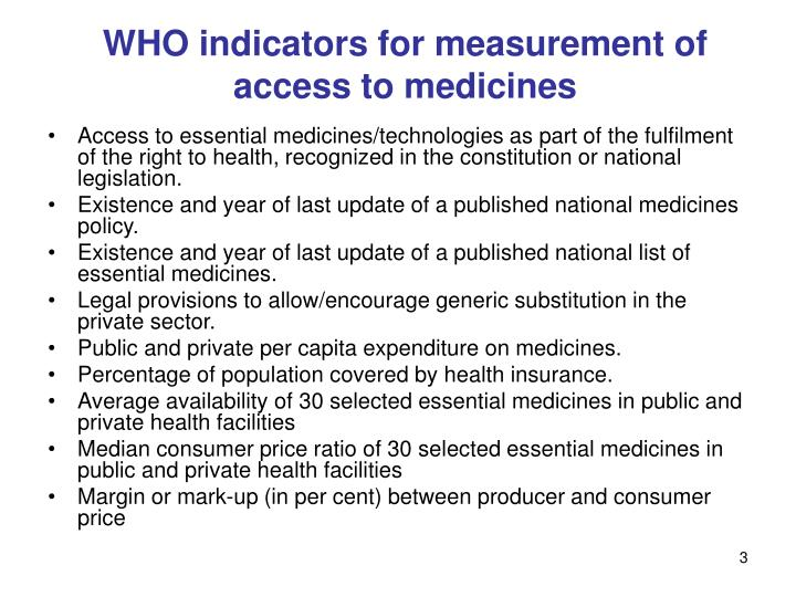 Who indicators for measurement of access to medicines