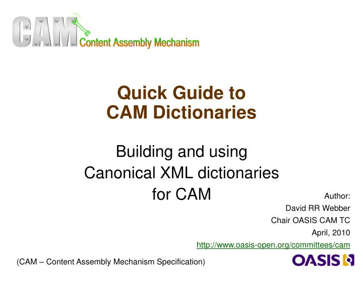 quick guide to cam dictionaries n.