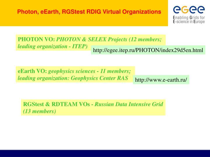 Photon, eEarth, RGStest RDIG Virtual Organizations