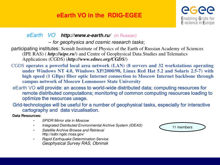 eEarth VO in the  RDIG-EGEE