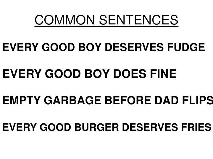 COMMON SENTENCES