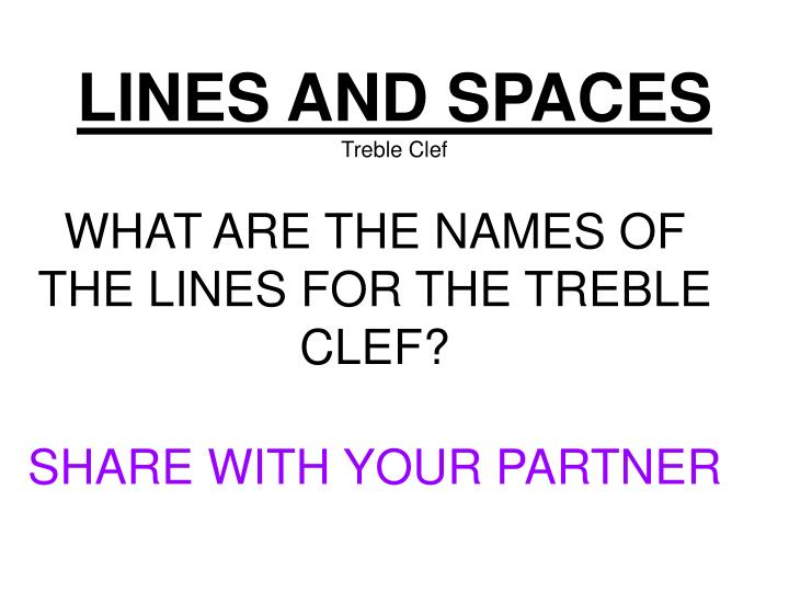 Lines and spaces treble clef
