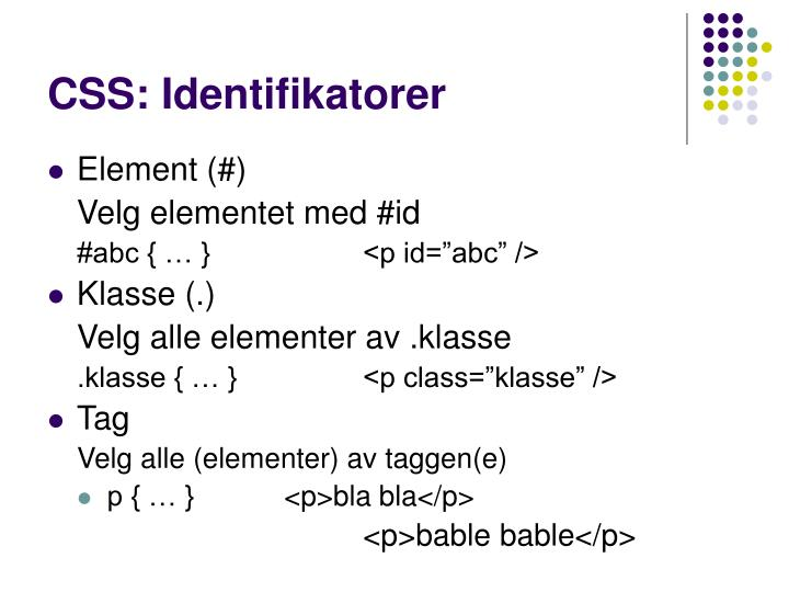 CSS: Identifikatorer