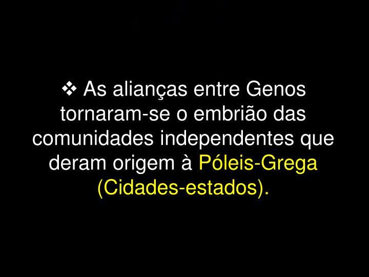 As alianças entre Genos tornaram-se o embrião das comunidades independentes que deram origem à