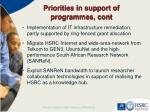 priorities in support of programmes cont