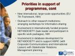 priorities in support of programmes cont1