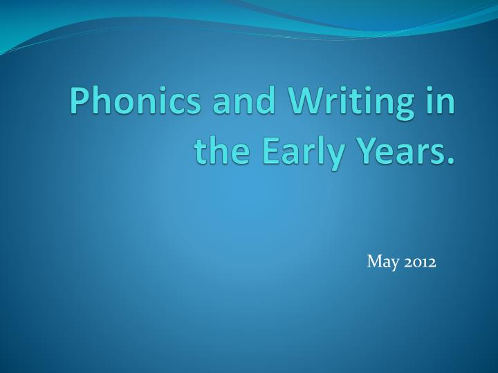 phonics and writing in the early years n.
