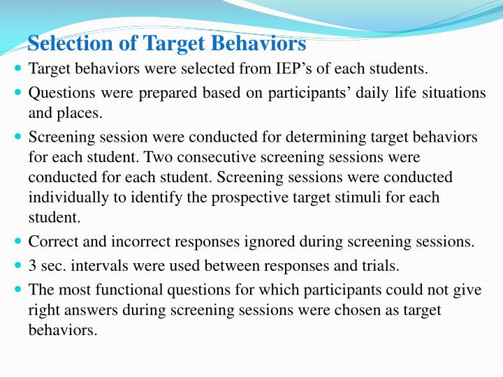 Selection of Target Behaviors