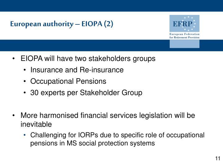 European authority – EIOPA (2)