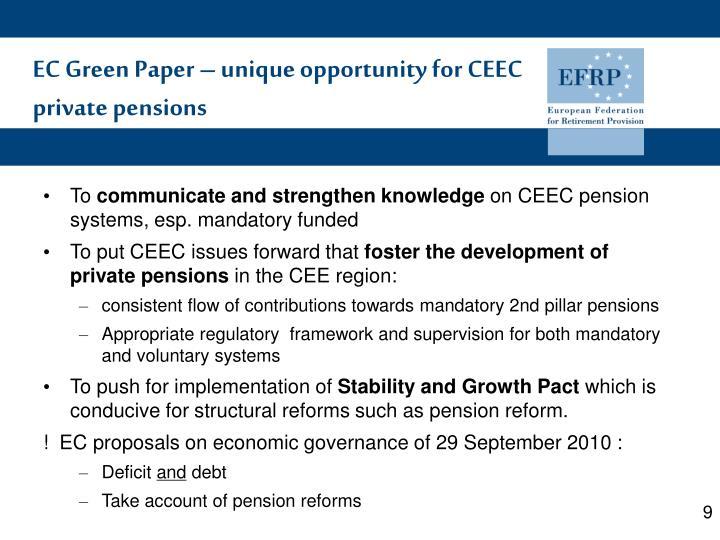 EC Green Paper – unique opportunity for CEEC private pensions
