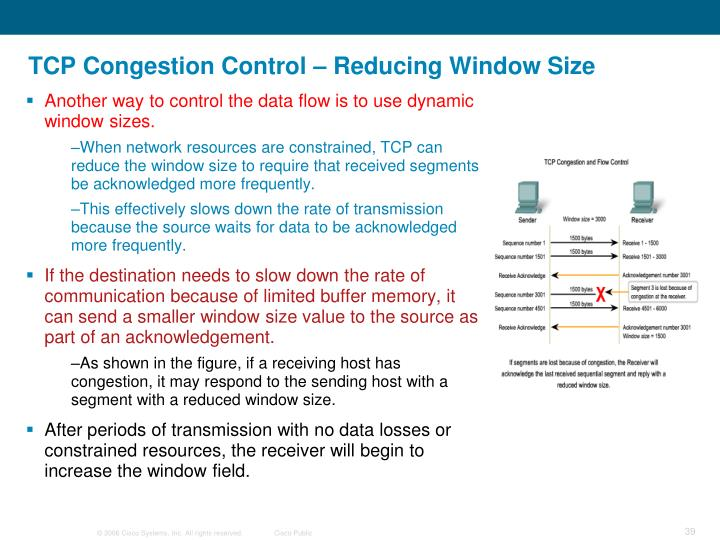 TCP Congestion Control – Reducing Window Size