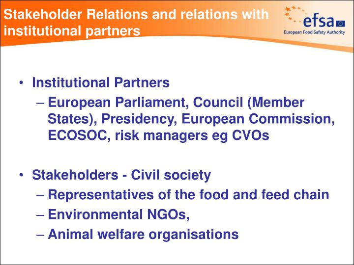 Stakeholder relations and relations with institutional partners2