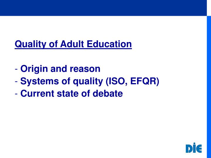 Quality of Adult Education