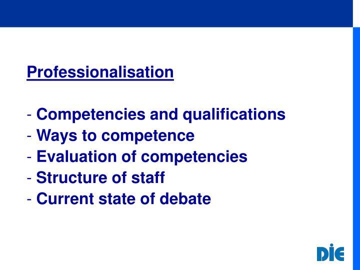 Professionalisation