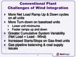 conventional plant challenges of wind integration