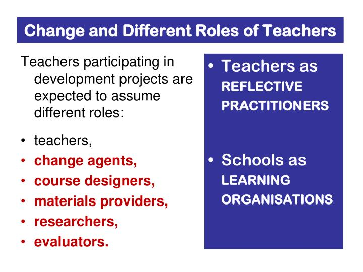 describe the differing roles of teaching The role of a teacher is to use classroom instruction and presentations to help students learn and apply concepts such as math, english, and science teachers prepare lessons, grade papers, manage the classroom, meet with parents, and work closely with school staff.