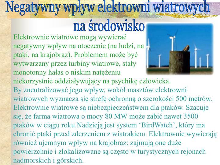 Negatywny wpływ elektrowni wiatrowych