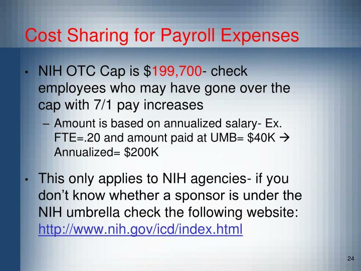 Cost Sharing for Payroll Expenses