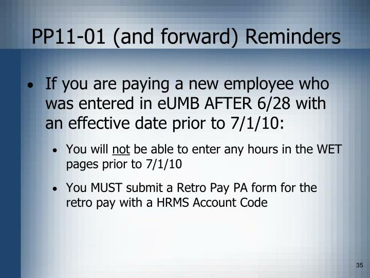 PP11-01 (and forward) Reminders
