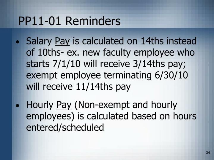 PP11-01 Reminders